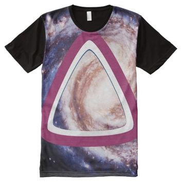 Space Galaxy Purple White Hipster Triangle All-Over Print T-shirt