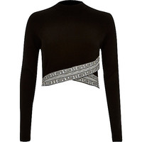 Black pattern hem crop top - knitted tops - knitwear - women