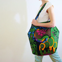 Green tote green cotton tote green Blue canvas gym bag green blue tote Abstract multicolor pattern book bag  reusable market bag TEA PARTY