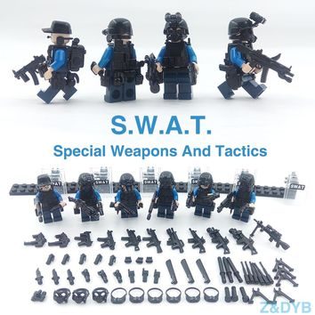 215PCS/Lot SWAT Team City Police Military Figures Scene Series Soldier Army Gun Weapon Build Block Brick legoed For Children Toy