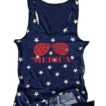 Women American USA Flag Print Tank Top Letters Vest T-Shirt