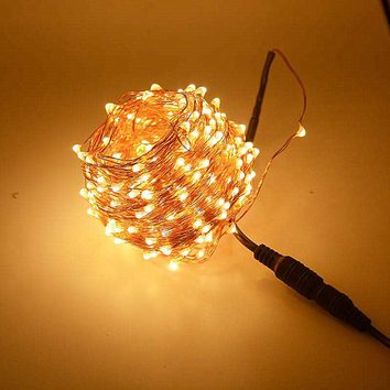 Waterproof 30m 300 LED Outdoor Christmas Fairy Lights LED Copper Wire String Lights Starry Light Garland + Power Adapter(
