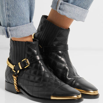 Balmain - Embellished quilted leather ankle boots