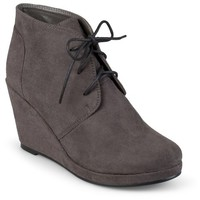 Women's Journee Collection Faux Suede Wedge Booties