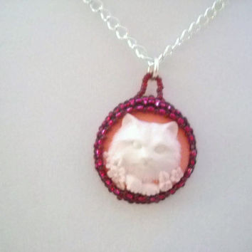 Cat Necklace Beaded White Cat Necklace