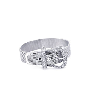 .925 Sterling Silver Rhodium Plated Pave Set Clear Cubic Zirconia Mesh Buckle Bracelet