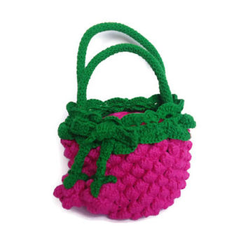 Little Girl Crochet Bag Purse berry