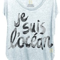 Chaser Je Suis L'Ocean Burnout Sleeveless Shirt Tail in Pacific Blue