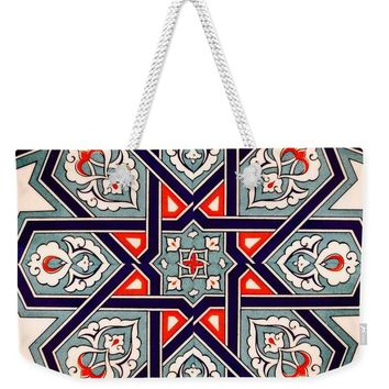 An Ottoman Iznik Style Floral Design Pottery Polychrome, By Adam Asar, No 35 - Weekender Tote Bag