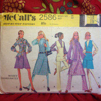 Multiple Mod Outfits Pattern McCall's 2586 Uncut and Factory Folded- Vintage 1970's