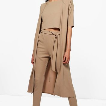 Jill 3 Piece Trouser Crop & Duster Co-ord | Boohoo
