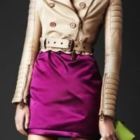 Burberry - GABARDINE CROPPED BIKER JACKET WITH CONTRAST LEATHER SLEEVES