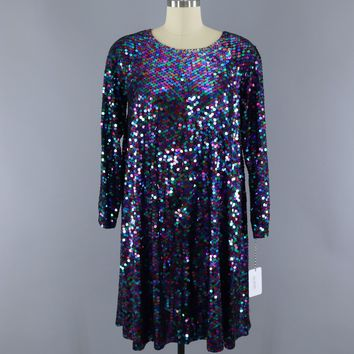 Vintage 1980s Rainbow Sequined Party Trophy Dress