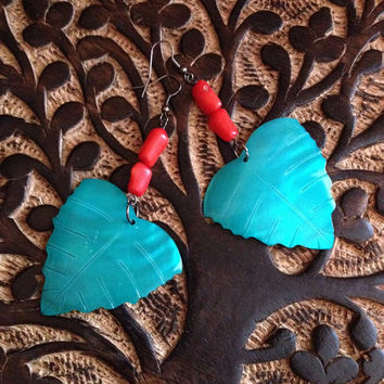 Turquoise and Coral Earrings, Mother Of Pearl Earrings, Leaf Earrings, Bohemian Earrings