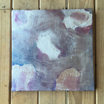 Abstract Painting, Original Art, Modern Painting, Stretched Canvas, Contemporary Painting, Silver Leaf Art, Square Art, 16x16 Canvas Art