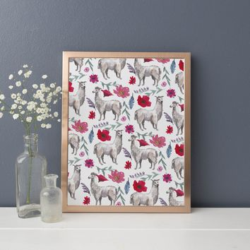 Bohemian Whimsical Llama Watercolor Pattern Art Print
