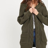 late at night knit cardigan - olive