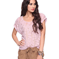Lavender Cropped Lace Tee - Forever21