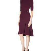Roland Mouret Healey Elbow-Sleeve Side-Drape Dress, Bordeaux