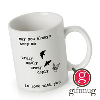 One Direction Song Truly Madly Deeply Crazy Love Birds Quote Ceramic Coffee Mugs