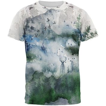 Watercolor Deer in the Mist All Over Mens T Shirt