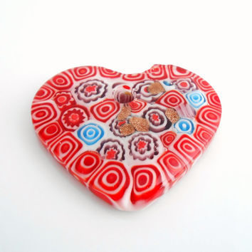 50x42MM, Glass, Heart Pendant, Red, Lampwork Glass, Milliefiori Style, Gold Flecks, Pendants, Gemstone Pendant, Jewelry Supplies
