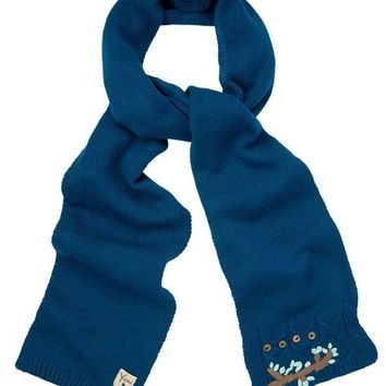 Yumi Ladies Owl Embroidered Knitted Scarf Teal - for A/w 15 | eBay