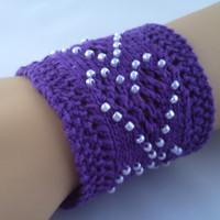 Women's / teenage girl's purple amethyst handknitted wrist cuff bracelet with beaded hearts.