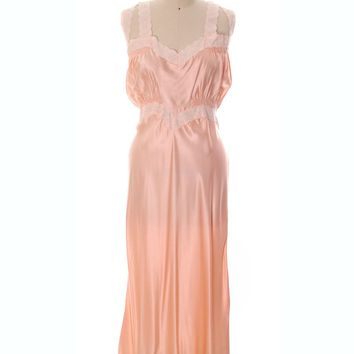 Gorgeous Vintage Peach Rayon Charmeuse Satin NOS Nightgown Boudoir XL Plus Bias Cut