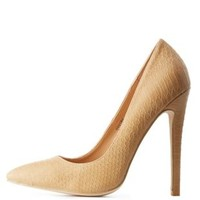 Camel Croc-Textured Pointed Toe Pumps by Charlotte Russe