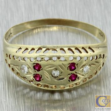 1880s Antique Victorian Estate 10k Yellow Gold .10ctw Diamond  Ruby Band Ring