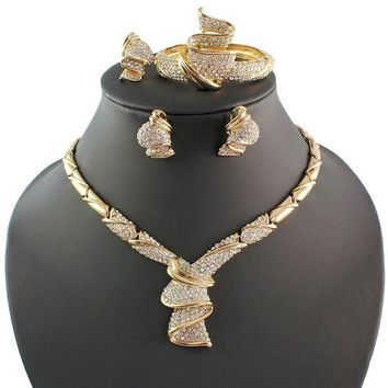 CREYV2S Fashion Women 18k Gold Plated Africa Dubai Wedding Party Necklace Jewelry Set