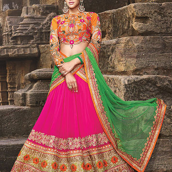 Pink & Orange color Pure Georgette fabric Lehenga Choli - Salwar Kameez, Indian dress, Anarkali suit, Vardhita sarees