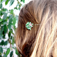 SUCCULENT HAIR PINS- succulent jewelry - green succulent hair pins - Succulent collection by FranceProvence