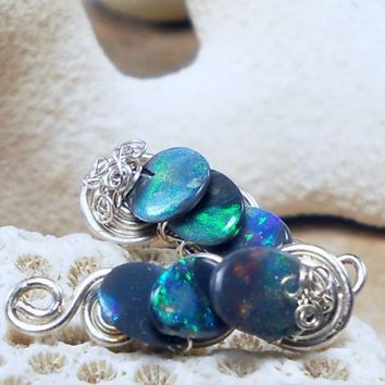 Black opal post earrings, wire wrapped drops | bohowirewrapped - Jewelry on ArtFire