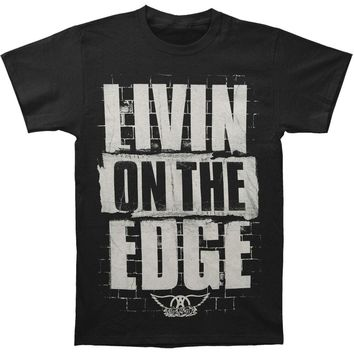 Aerosmith Men's  Livin On The Edge Brick Wall T-shirt Black