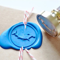 Hammerhead shark Gold Plated Wax Seal Stamp x 1