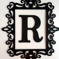 Black Ornate Frame - Large Letter Wall Decor - Framed Initial - Laser Cut Frame