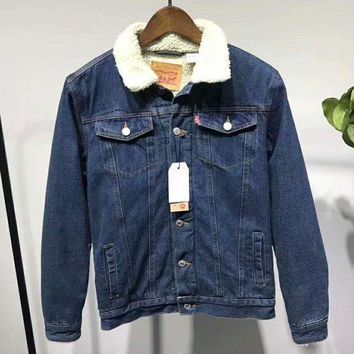 ESBV9O LEVI'S Women Men Button Denim Jacket Sweater Coat  G-ZDL-STPFYF