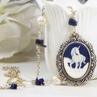 Unicorn Cameo Necklace, Genuine Freshwater Baroque Pearls and Blue Dyed Jasper Beads, Fantasy Jewelry
