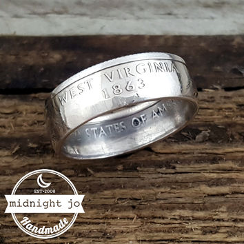 West Virginia 90% Silver State Quarter Coin Ring