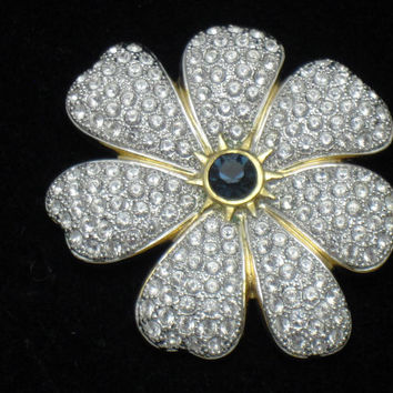 Signed CIRO London Vintage Rhinestone Flower Brooch Pin Exceptional