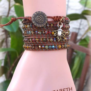 The Perfect Leather Wrap Bracelet For Autumn, Fall Leather Wrap Bracelet, Beaded Leather Wrap.