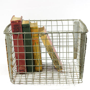 Vintage Wire Locker Basket, Industrial Storage
