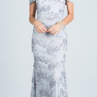 Embroidered Fit and Flare Prom Gown Off Shoulder with Strap Silver