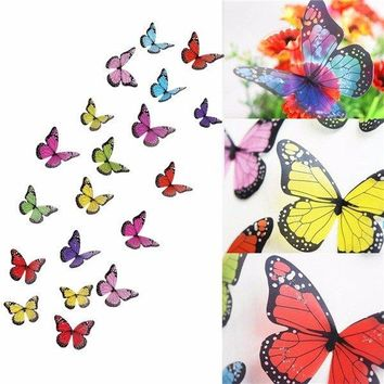 19Pcs 3D Butterfly Crystal Transparent Wall Sticker Home Wall Wedding Party Decoration