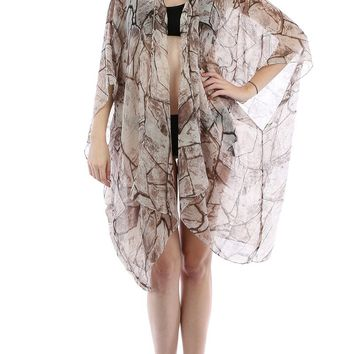 Brown Distressed Print Sheer Cover Up Poncho