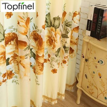 Top Finel 2016 Painting Flowers Luxury Thick Window Curtains for Living Room the Bedroom Drapes Cotton Blackout Curtain Panels