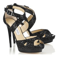 Black Coarse Glitter Fabric Platform Sandals | Kuki | Spring Summer 14 | JIMMY CHOO Sandals
