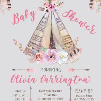 Teepee Baby Shower Invitation
